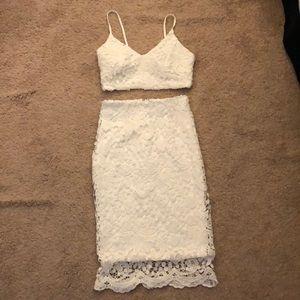 White lulus two piece dress
